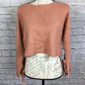Mustard Seed Cropped Sweater with Pearls Size S